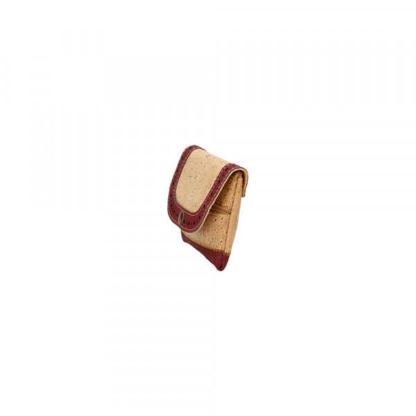 Porte monnaie en liège - Naturel rouge - vue de côté